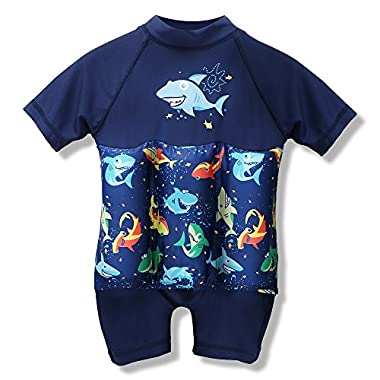 Boys Girls Print Sun Protection Float Suit with Adjustable Buoyancy Floating Bathing Suit for Kids Learn to Swim (Boys / Shark, 80(12-18M))