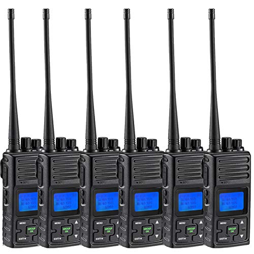 5 Watts Two Way Radio SAMCOM Long Range Handheld UHF Business Radio for Adult Programmable Walkie Talkie with Rechargeable 1500mAh Battery LCD Display Charging Docks Earpieces (6 Packs)