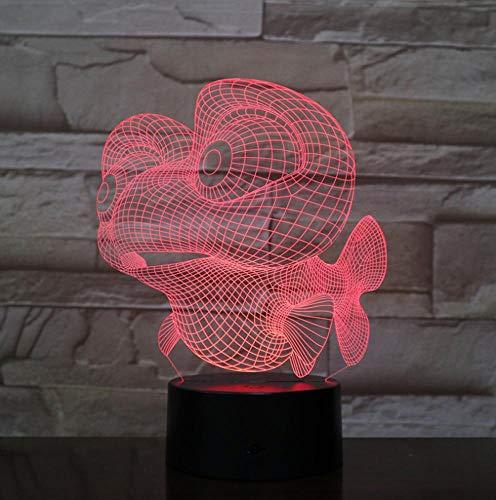Cartoon Marlin Fish Lamp 3D USB Visori notturni a led visivi Decorazioni creative Sala studio Lampada da tavolo Luce notturna per dormire Regali di Natale