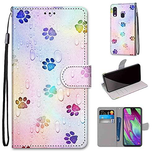 WGR Custodia per Samsung Galaxy A40 Case Custodia in Pelle PU Premium Portafoglio Protettiva Flip, con Slot...