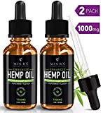 Hemp Oil for Pain Relief Anxiety Sleep Immune System Support (1000mg) Natural Organic Hemp Seed - Herbal Supplements - Tincture Oil Drops (2 Pack   60mL)