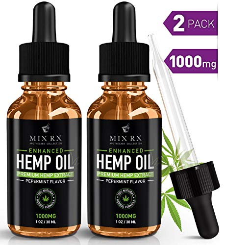 (2 Pack | 60mL) Hemp Oil for Pain Relief Anxiety Sleep Support (1000mg) Natural Organic Hemp Seed - Herbal Supplements - Tincture Oil Drops
