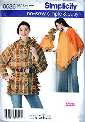 Simplicity Sewing Pattern 0636 c.2006, Andrea Schewe Misses Jacket and Poncho w/ Pet Poncho