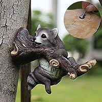 アライグマの彫像、屋外の風景の木のペンダント樹脂動物シミュレーションアライグマヴィラコートヤードヤードの装飾庭の装飾品サイズ:34 * 14 * 25cm