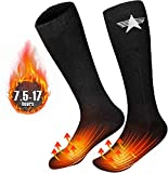 EEIEER Heated Socks for Men Women, Electric Rechargeable Battery Heating Socks for Winter Sports Ski Hunting Camping Hiking Riding Warm Cotton Socks Foot Warmer