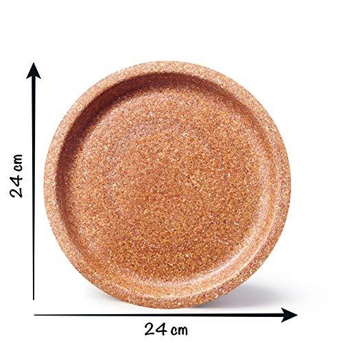 ECOMOLI Hohe Qualität Geschirr aus Weizenkleie | 24 cm 50 STK. Teller Bio-Einweg | Einweggeschirr aus biologischem Anbau | natürlich - essbar | Made in EU | biologisch abbaubare Küchenutensilien