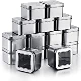15 Pieces Square Silver Metal Tins with Clear Window Lids, 2.3 x 2.3 x 1.6 Inch Storage Tin Box Container Portable Empty Box for Home Travel Business Trip Storing