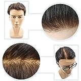 Hairnotion Toupet Uomo Merletto Svizzero Pieno Traspirante Naturale 8x10 Pollici Parrucche Uomo Capelli Veri (3#)