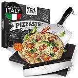 Pizza Divertimento [DAS ORIGINAL - Pizzastein für Backofen und Gasgrill [3er Set] - Mit Pizzaschieber & Pizzaschneider - Cordierit Pizza Stein - Pizza Stone knuspriger Boden