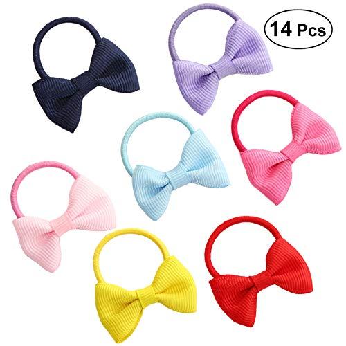 FRCOLOR Cravate de cheveux d'arc, attaches élastiques de cheveux de support de queue de cheval pour des filles d'enfants, paquet de 14