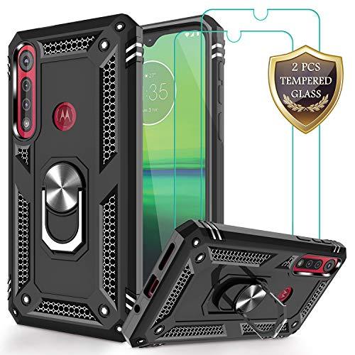 Jshru Moto G8 Play Plus Motorola One Macro Hülle mit gehärtetem Glas Bildschirmschutzfolie [2 Stück], Militärqualität Ring Auto Halterung Kickstand Handyhülle für schwarz