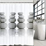Alishomtll Duschvorhang Stoff Antischimmel Duschvorhänge Textil Wasserdicht Shower Curtains Badewanne Waschbar mit 12 Haken, 175x178 cm, Grau Pebble