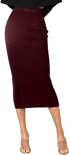 NAFOUR Women's High Waist Rib-Knit Sweater Skirt Stretchy Bodycon Pencil Skirt Party Club Maxi Skirt
