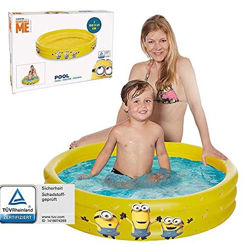Smart Planet® Planschbecken Minions - 3-Ring Pool aufblasbar - 100 x 23 cm - Kinderpool - Babypool - Mini Schwimmbecken - Aufstellpool