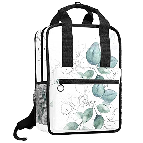 KAMEARI Plecak torba na książki studia torba na ramię torby na książki akwarela zielone liście bukiet ziół