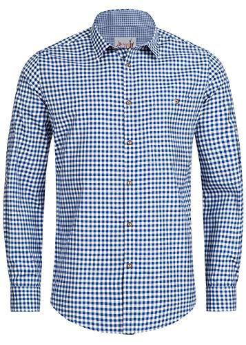Stockerpoint Trachtenhemd OC-Martl | kariert | Regular Fit (M, Blau)