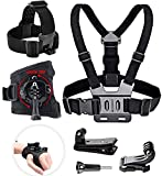 Geila Chest Belt Strap Harness Mount - Camera Head Strap Mount - Black 360°Rotating Wrist Strap - Adjustable Elastic Strap Head Mount Compatible with Action Session Cameras (Set A)