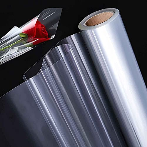 GENDAKO Rouleau de Cellophane Transparent Papier Cadeau Transparent Fleuriste Papier Transparent Emballage Cadeau Rouleau Papier Transparent Fleuriste Film Feuriste Emballage pour Noël Pâques,30m*43cm
