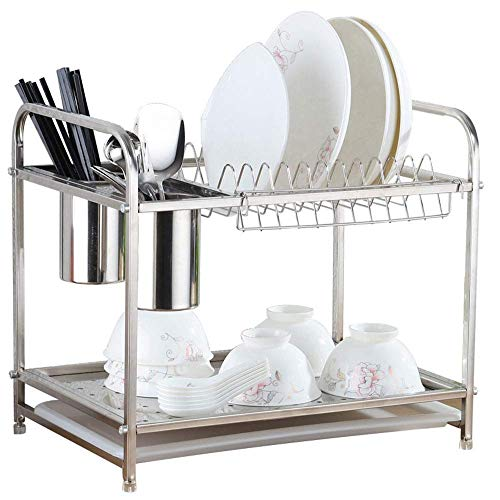 ZYL-YL Kitchen shelf Dish Rackkitchen Stainless Steel Doublelayer Dish Cup Storage Shelf Drainer Rack With Removable Cutlery Holders