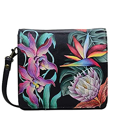 Anuschka Women's Genuine Leather Small Messenger - Hand Painted Exterior - Island Escape Black