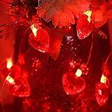 Luces de Cadena de Corazón Rojo de San Valentín, Luces Decorativas Centelleantes de Exterior Interior Funcionadas por Pilas de 30 LED 10 ft para Hogar Boda Aniversario Día de la Madre