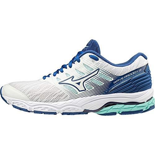 Mizuno J1Gl18100140 - Zapatilla Wave Prodigy 2 (W) - Color: Wht/Wht/Aruba Blue Talla: 40 - Mujer
