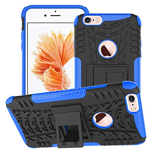 Funda para iPhone 6 Plus / iPhone 6s Plus, Robusta Carcasa Híbrida TPU + PC de Doble Capa Anti-arañazos Caso con Soporte Plegable, Armor Heavy Duty Case Cover Duradero Protección Neumáticos Patrón