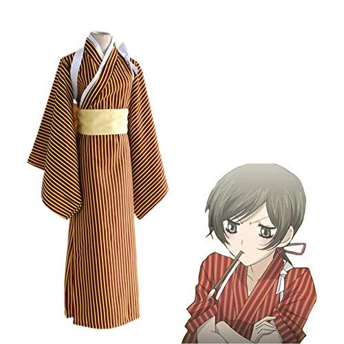 CGBF - Kamisama Kiss Momozono Nanami Cosplay Disfraz Halloween Anime Game Party Kimono rayado, amarillo, L