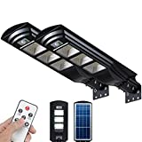 6000LM Outdoor Solar Street Light 2 Pack LED Solar Powered Street Lamp Dusk to Dawn with Motion Sensor FUHONGRUI