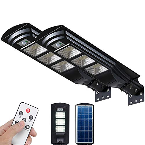 Solar Street Light 6000LM Solar Flood Lights Outdoor Dusk to Dawn Lighting with Motion Sensor 2 Pack FUHONGRUI