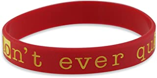 Forge Don't Ever Quit - Motivational Red Silicone Wristband Black Lettering