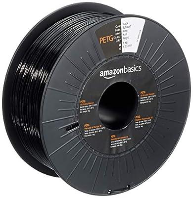 AmazonBasics PETG 3D Printer Filament, 1.75mm, Black, 1 kg Spool
