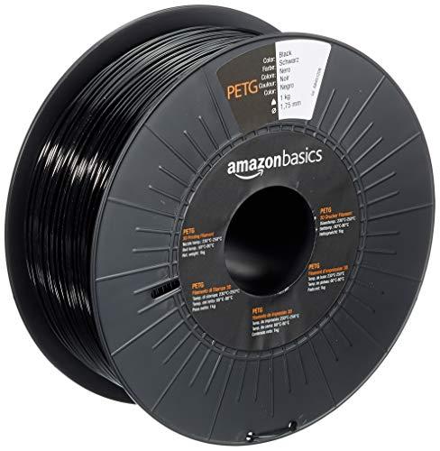 Amazon Basics - Filamento para impresora 3D, tereftalato de polietileno (PETG), 1,75 mm, cinta de 1 kg, negro