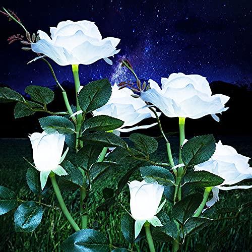 Solarleuchten Garten Deko, Wasserdicht Solarlampen für Außen Garten, Solar Garten Lampen mit LED Rose Lichter für Garten, Rasen, Feld, Weg (Rot+Weiß Rose, 2 Stück)