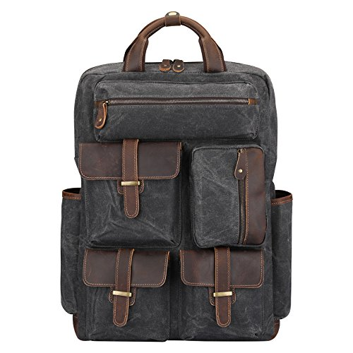 S-ZONE Upgrade Waxed Canvas Mens Genuine Leather Handmade Backpack Rucksack Multi Pockets Travel Sports Bag (Gray)
