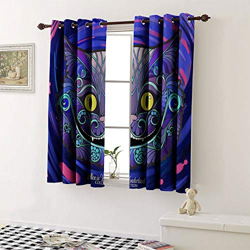 """Blackout Window Curtain the head of the cheshire cat from the fairy tale alice in wonderland with a decorative patt grommet Waterproof Window Curtain (1 Pair, 36"""" Width x 45"""" Length Each Panel)"""