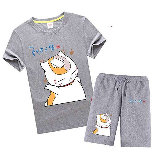 Boyyu Natsume Yuujinchou Anime Shorts Kurze Hose Hosen Jogging Herren Kurz Sport Sommer Sport Baumwolle Pants Short Men Mit Taschen Kurzarm T-Shirt Set M