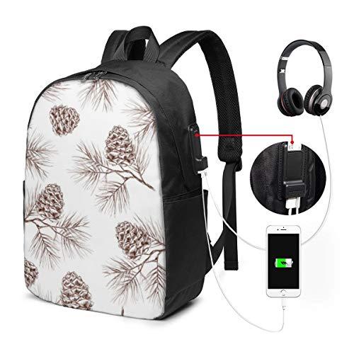Reise-Laptop-Multifunktions-Reisetaschen, Canvas-Schulter-Daypack-Rucksack Mit USB-Ladeanschluss Und Kopfhörerloch Für Teenager Mädchen Jungen -Kiefer Tanne Weihnachtsbaum Zeder Fichte Zapfen