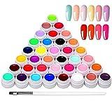 36 Colores Esmaltes Semipermanentes de Uñas, Esmaltes Semipermanentes, Gel Uñas Juego de Pigmentos para Uñas, Poli Gel UV Esmalte Pegamento sólido para Manicura