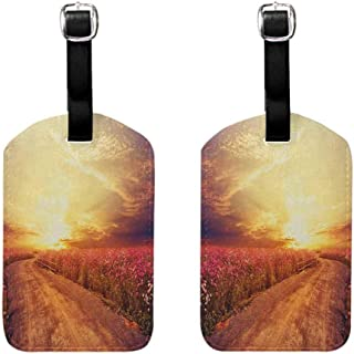 Travel ID Bag Tag Scenery,Floral Theme Landscape of Cosmos Flower Field in Sky Sunset Illustration, Orange and Yellow Luggage Tags - 2 Pack