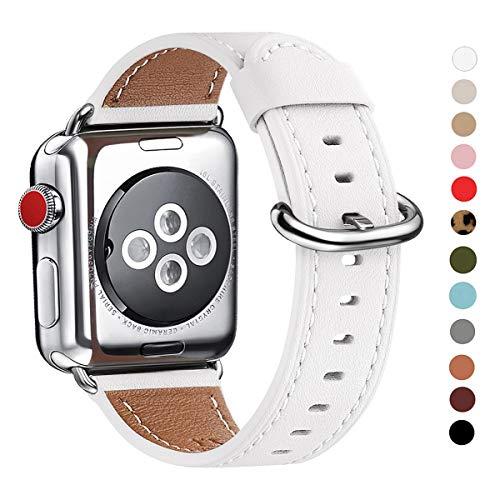 WFEAGL Kompatibel für Watch Armband 38mm 40mm 42mm 44mm,Top Grain Lederband Ersatzband mit Edelstahl-Verschluss Kompatibel für Serie 5/4/3/2/1(42mm 44mm, Weiße+Silber Adapter)
