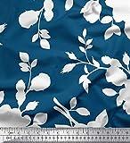 Soimoi Blau Georgette Viskose Stoff Blätter & Blumen
