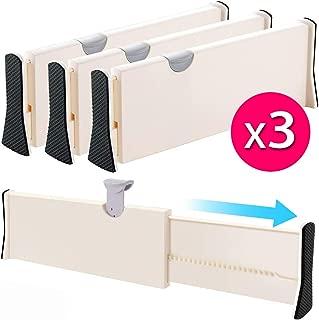 Drawer Dividers Organizer 3 Pack, Adjustable Separators 4