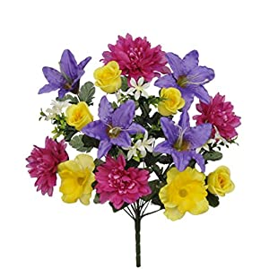 House of Silk Flowers Artificial 22-inch Yellow/Purple/Fuchsia Dahlia/Tiger Lily/Rose Bush x6
