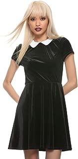 Black Velvet White Collar Dress