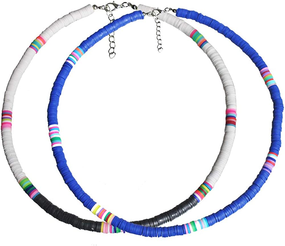 The Woos 3 PCS Lightweight Colorful African Vinyl Disc Beads Necklace Boho Handmad Soft Pottery Clay 6mm Beads Surfer Choker Beach Collar Necklace for Women Girl Holidays Jewelry