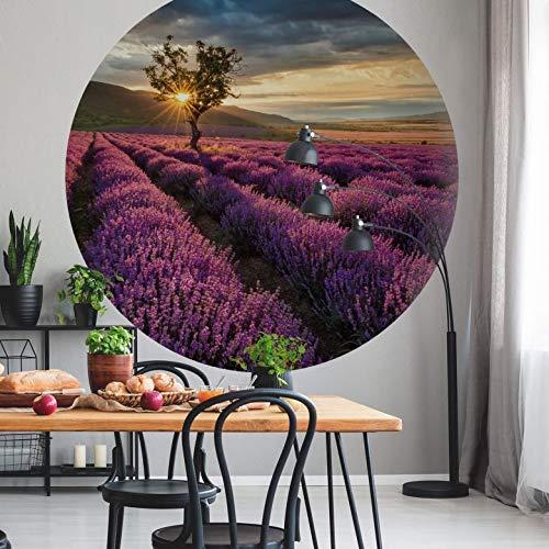 Fototapete Vliestapete Rund Lavendelblüte in der Provence Fotografie Natur Landschaft Lavendel Blumenfeld Sonnenuntergang Tapetenpaneele inkl. Schablone