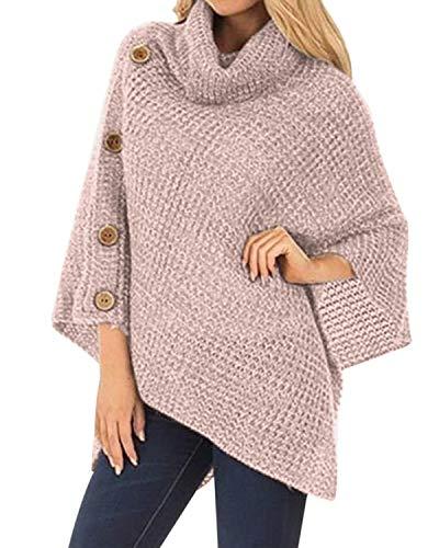 Style Dome Ponchos y Capas de Punto para Mujer Elegantes para Invierno Gran Poncho De Cuello Alto...