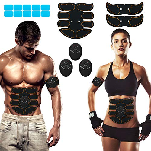 SPORTLIMIT Abs Stimulator, Ab Machine, Abdominal Toning Workout Portable Ab Stimulator Home Office Fitness Workout Equipment with 9pcs Free Gel Pads for Men Woman