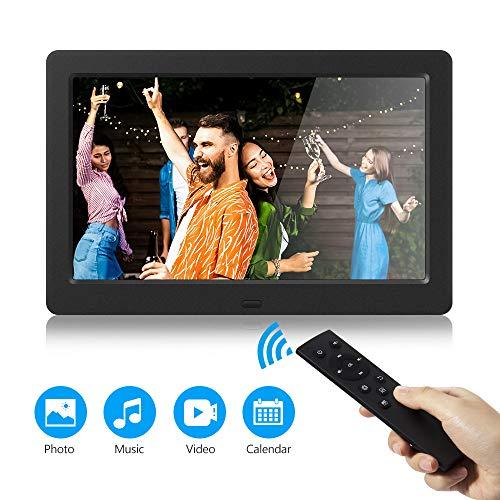 Digitaler Fotorahmen 1280x800 Hochauflösender elektronischer Bilderrahmen 16: 9 IPS HD-Display Foto- / Musik- / Videoplayer Kalenderalarm, Unterstützung für USB- und SD-Karte, Fernbedienung